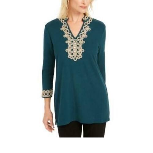 Charter Club Lace-Trim Tunic Top Green Size X-Small