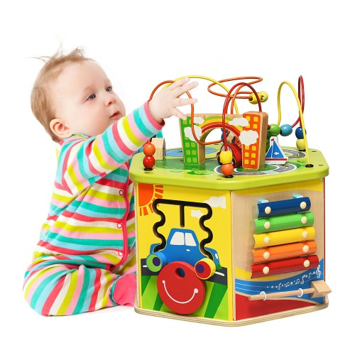 Costway 7-in-1 Wooden Activity Cube Toy Kids Educational Learning Bead Maze