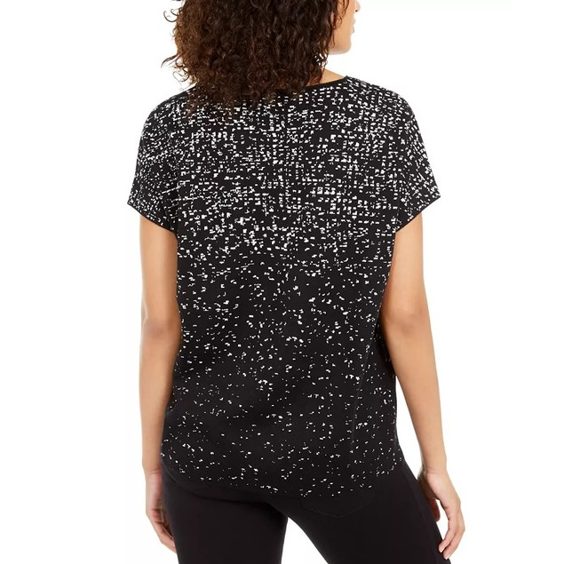 Alfani Women's Printed Short-Sleeve Top Black Size Large
