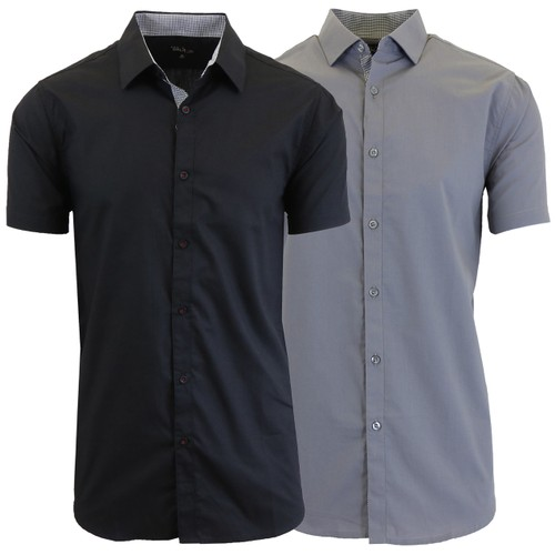 Men's 2-Pack Slim Fit Short Sleeve Dress Shirts (S-5XL)