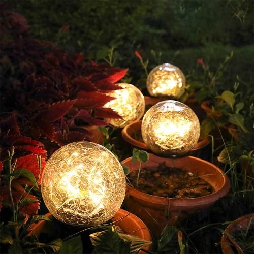 Outdoor Solar Light Round Ball LED Lights Garden Crackle Glass Globe Stake Lamp
