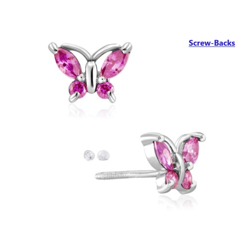 Sterling Silver Butterfly Cubic Zircon Screw-Back Post Earring