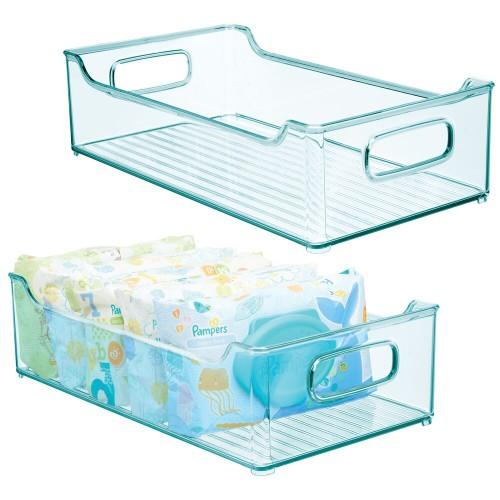 mDesign Stacking Plastic Storage Organizer Bin for Kids Supplies