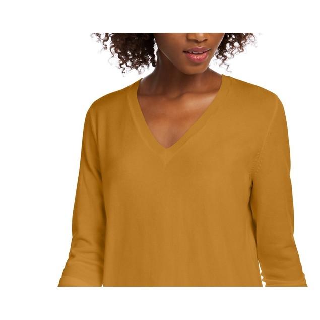 Maison Jules Women's V-Neck Sweater Yellow Size Medium