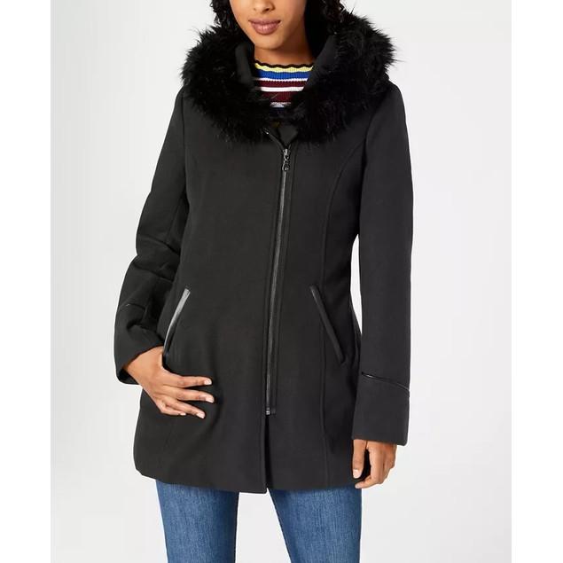 Maralyn & Me Juniors' Faux-Fur-Trim Hooded Coat Black Size Large