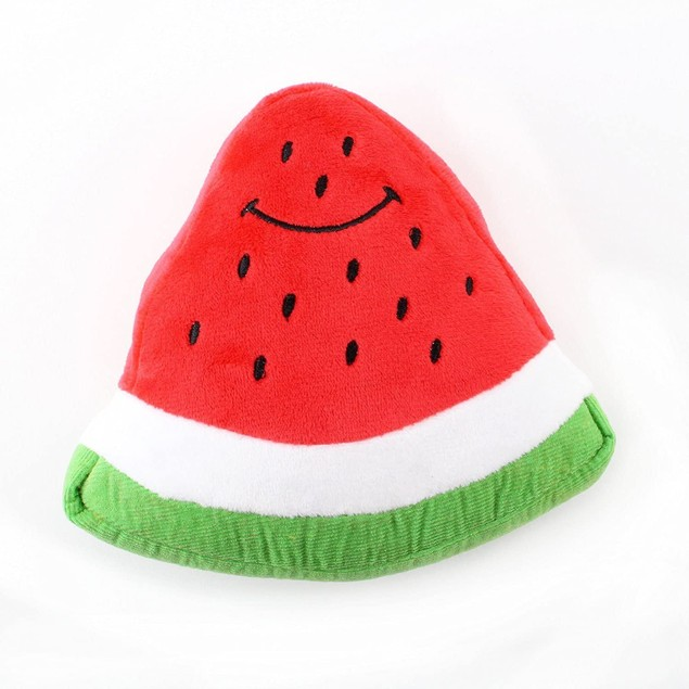 Midlee Smiley Watermelon Squeaker Plush Dog Toy