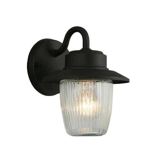 Hampton Bay 1-Light Outdoor Porch Lantern Wall Mount Sconce, Black, 2 Pack