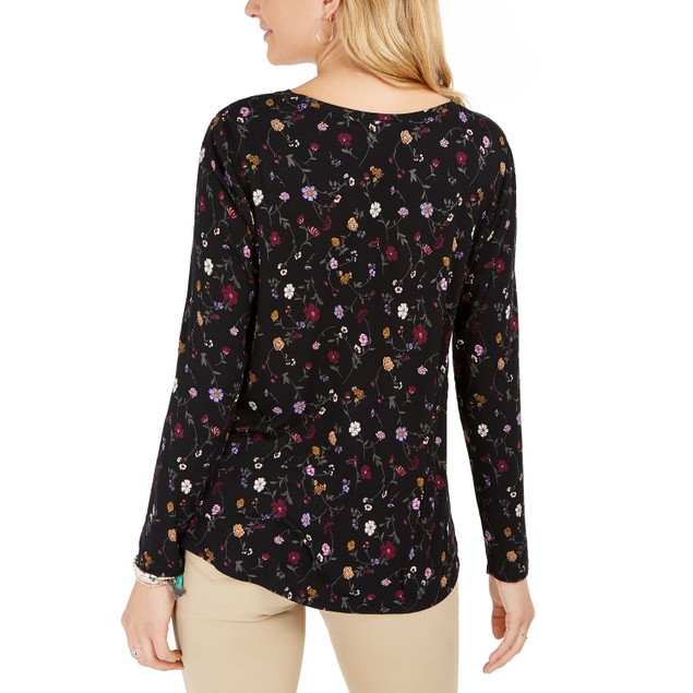Style & Co Women's Floral-Print Twist-Front Top Black Size Small