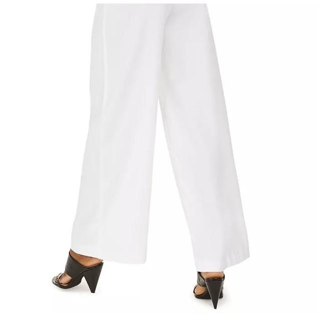 INC International Concepts Women's Front Linen Blend Pants White Size 12