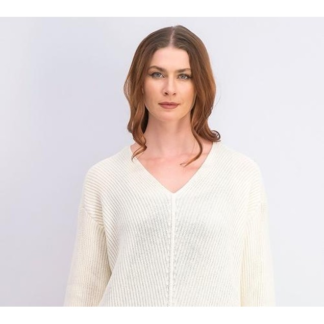 Charter Club Women's Cotton Textured V-Neck Sweater Vanilla Size Large