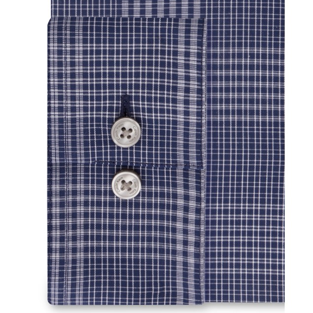 Calvin Klein Steel Slim-Fit Stretch Blue Check Dress Shirt 17.5x32-33