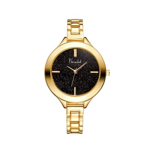 Novadab Stunning Galaxy-Style Black-Dial Sleek Ladies Analog Watch (Gold)