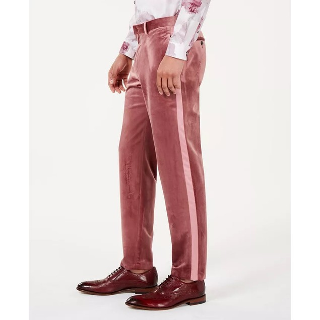 INC International Concepts Men's Slim-Fit Velvet Pants Red Size 38X32