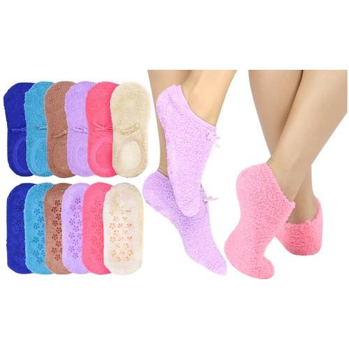 (6 Pairs) ToBeInStyle Women's Pastel Non-Skid Slipper Socks