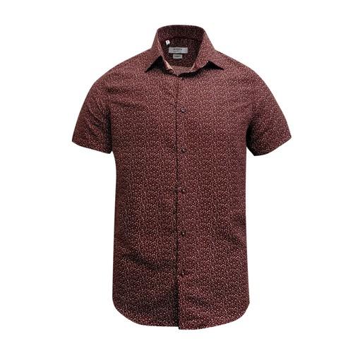 Monza Modern Fit Short Sleeve Burgundy Marble Dress Shirt