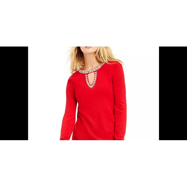 INC International Concepts Women's Embellished Keyhole Sweater Red Size XS