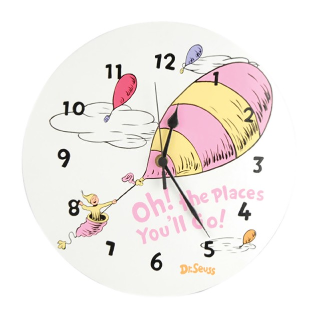 Trend Lab Wall Clock - Dr. Seuss Pink Oh The Places You'Ll Go