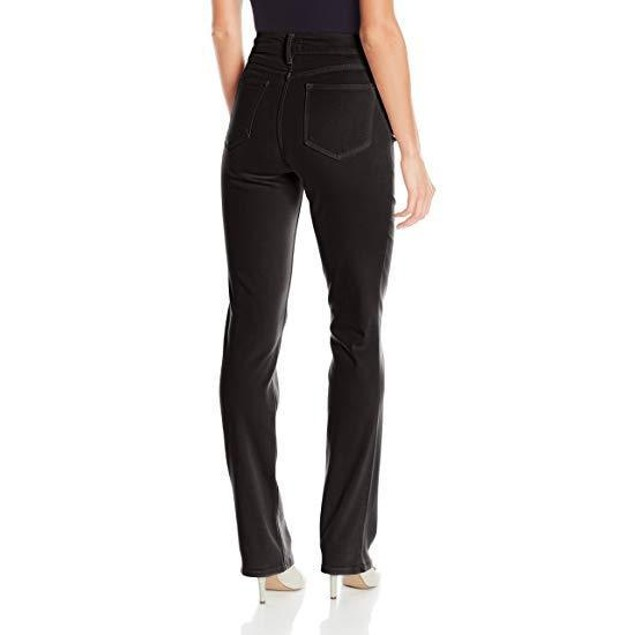 NYDJ Women's Marilyn Straight Leg Jeans, Pure Black, 10