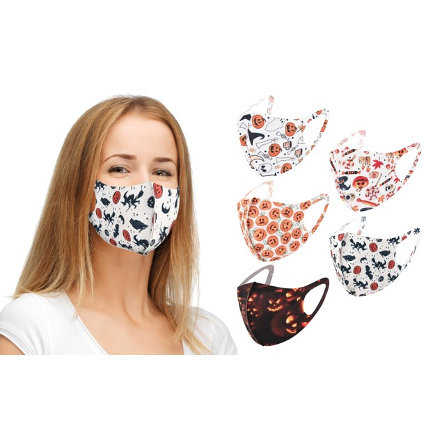 5-Pack Reusable Non-Medical Halloween Face Masks