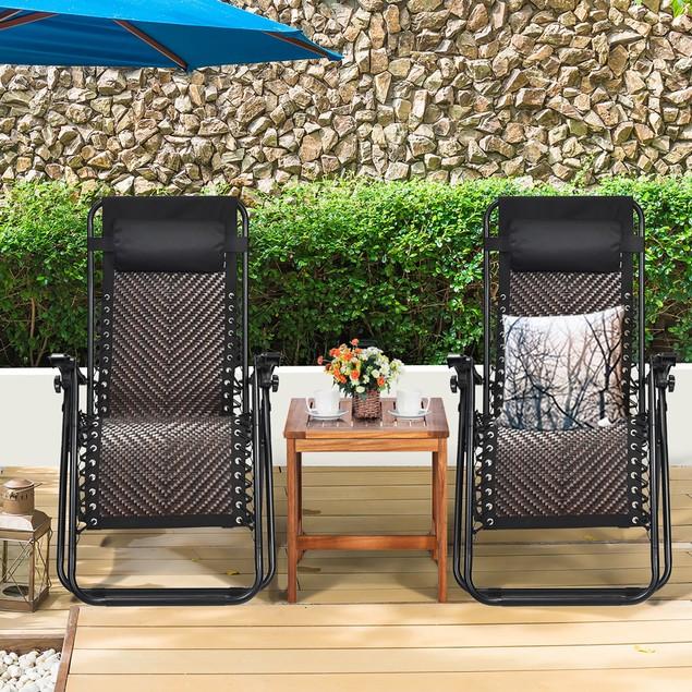 Costway 2PCS Patio Rattan Zero Gravity Lounge Chair Folding Recliner Headre