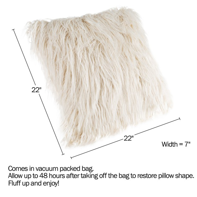 22-Inch Plush Pillow – Luxury Square Floor Pillow Insert and Shag Glam Cover Set– For Bedroom or Living Room by Lavish Home (Ivory)