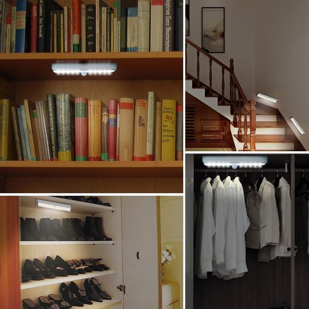 PIR Motion Sensor 10 LEDs Portable Cabinet Wall Kitchen Light
