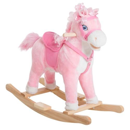 Kids Ride On Rocking Horse Pony Toy Plush Gift Moving Tail w/Sound Pink