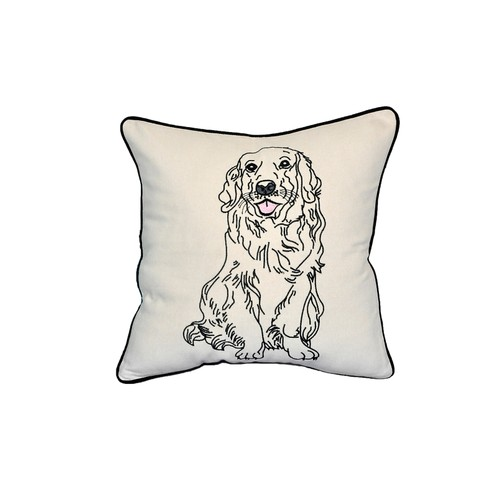 "Golden Retreiver Dog Portrait Printed Design White Cotton Pillow 15""x15"""
