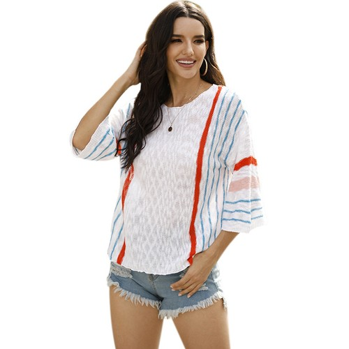 Women's Fashion Vertical Stripes Knitted Sweater