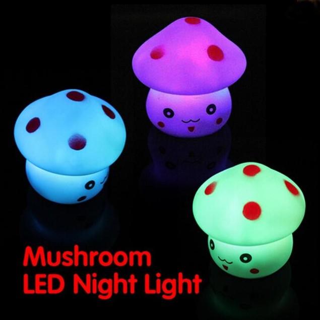 Mushroom Shaped LED Lamp Night Light Nightlight Lamp Flashing Toy