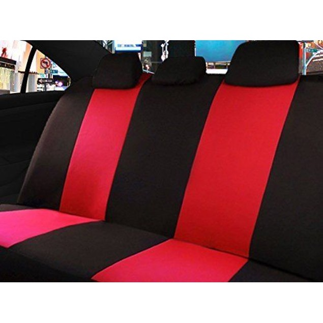 Zone Tech Universal Red/Black Racing Cloth Car Seat Covers Set Split Bench