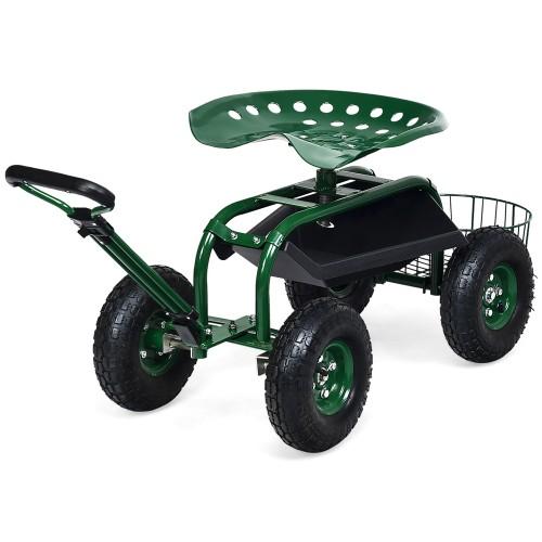 Costway Garden Cart Rolling Work Seat w/Tray Basket E xtendable Handle Gree