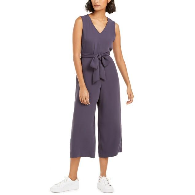 Bar III Women's Soft-Crepe Belted Jumpsuit Blue Size Large