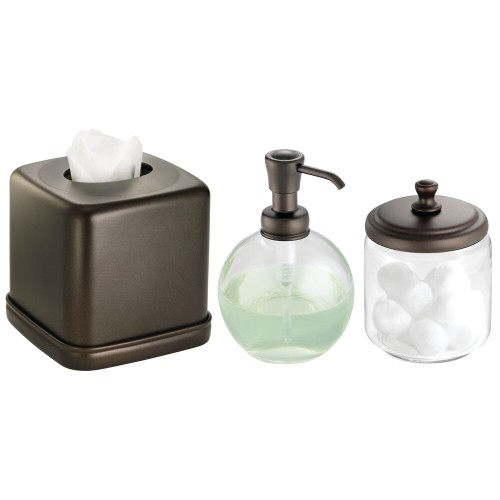 mDesign Soap Dispenser, Tissue Box Cover, and  Jar - Set of 3, Bronze/Clear