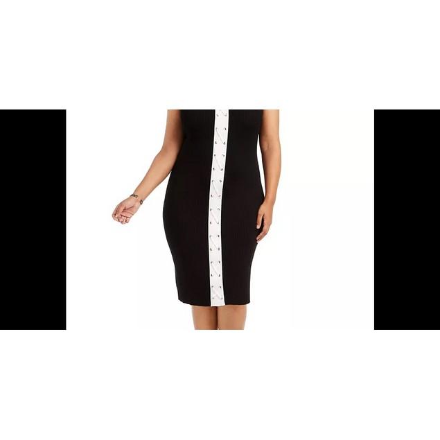 Planet Gold Women's Trendy Lace Up Bodycon Dress Black Size 3X