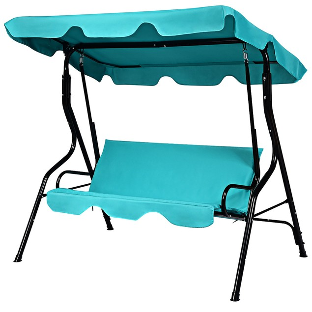 Costway Patio 3 Seats Canopy Swing Glider Hammock Cushioned Backyard Blue