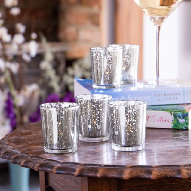 Set of 12 Speckled Tealight Candle Holders | MandW Silver