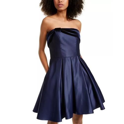 Blondie Nites Junior's Strapless Velvet & Satin Dress Navy Size 1
