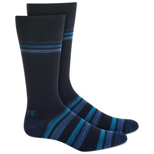Perry Ellis Men's Bamboo Double Stripe Socks Navu Size 7-12
