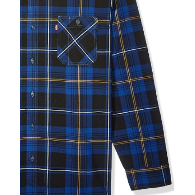 Levi's Windowpane Plaid Collared Work Dress Shirt Navy Extra Large