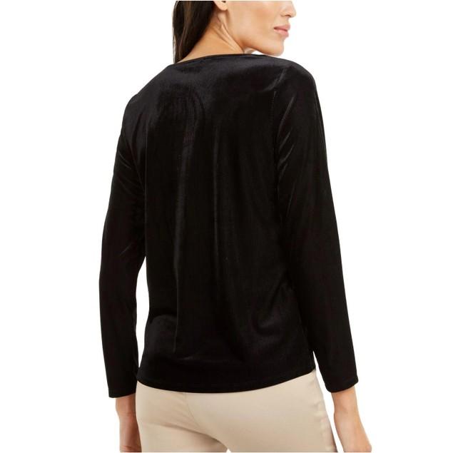 Alfani Women's Asymmetrical-Neckline Velvet Top Black Size Extra Large