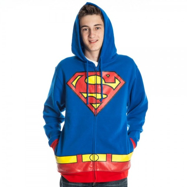 Superman Adult Hoodie Costume Man Of Steel DC Comics Super Hero Superhero
