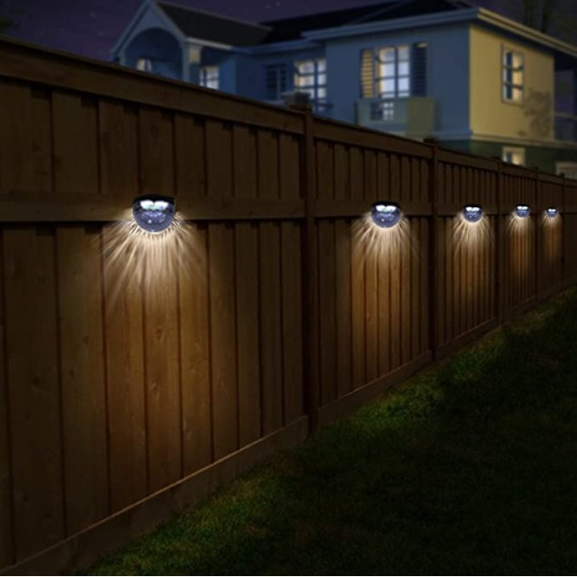 4-Pack Solar Auto LED Lights Mount Fence Post Patio Deck Removable Cover