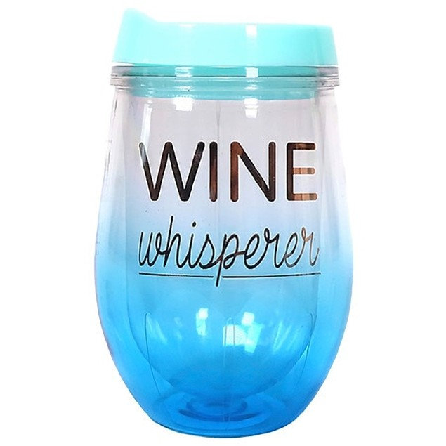 Garden Party 'Wine Whisperer' Plastic Tumbler with Lid, 11 Ounces, Blue