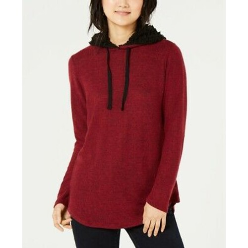 Ultra Flirt Juniors' Sherpa Lined Hoodie Red Size X-Large