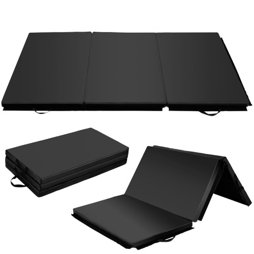 Costway 6'x 4' Tri-Fold Gymnastics Mat Yoga Gym Fitness Exercise Black