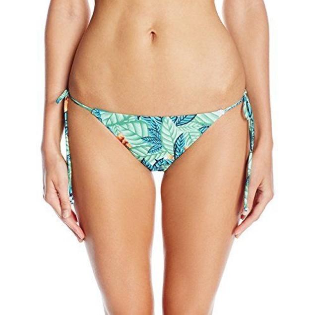 Mara Hoffman Women's Leaf Side Tie Bikini Bottom, White/Multi, SZ SMAL