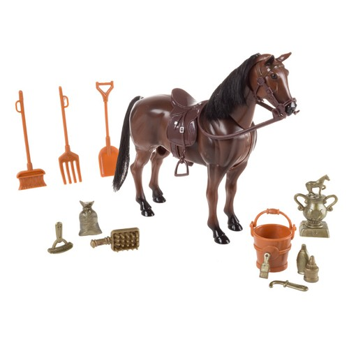 Toy Horse Set with Accessories, Brushable Mane and Tail, and Moving Head