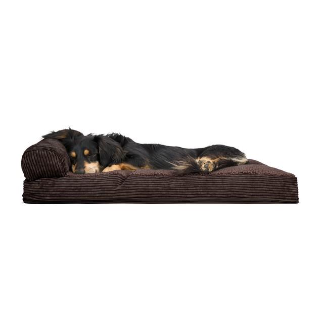 FurHaven Faux Fleece & Corduroy Chaise Lounge Pillow Sofa Pet Bed