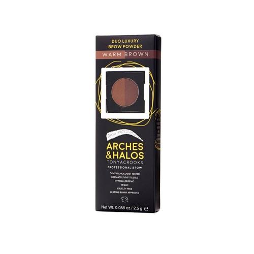 Arches & Halos Duo Luxury Cruelty Free Eyebrow Powder, 0.088 Oz, Warm Brown